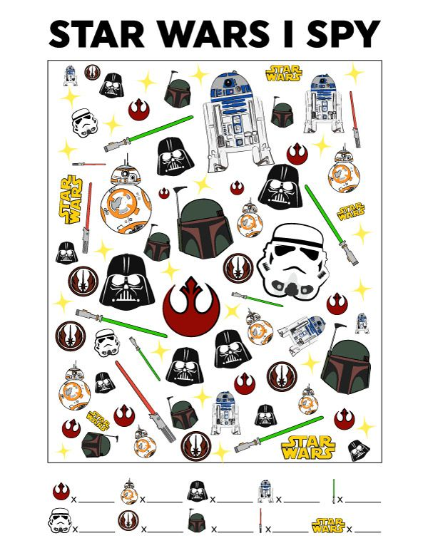 photo about Star Wars Printable Crafts titled Star Wars Free of charge Printable I Spy Match Towards Occupy The Little ones