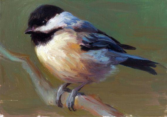 Carolina Chickadee - Open Edition Print of Original oil painting