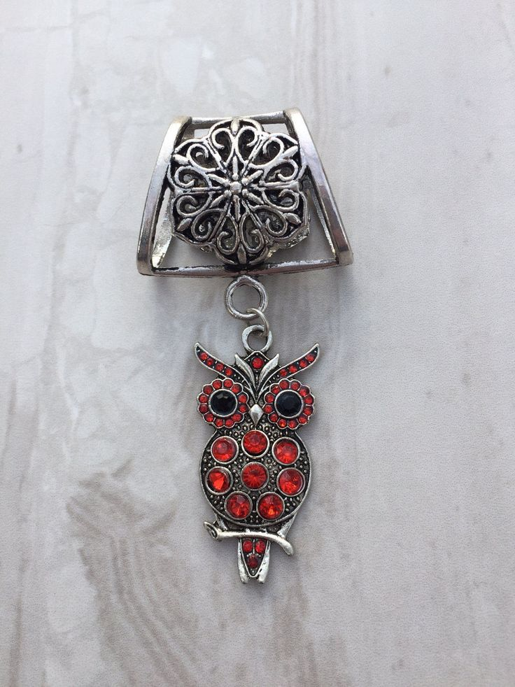 Red Rhinestone Owl Scarf Bail, Silver scarf bail, scarf pendant, scarf ring, scarf slider, scarf jewelry, scarf jewellery, scarf charm by DianaSianCrafts on Etsy