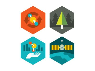 Carbonicons by Eric R. Mortensen via Dribbble / Flat design / Flat icons / Icons design / Symbols / Pictograms / http://dribbble.com/shots/379879-NASA-Carbon-Monitoring-System-badges