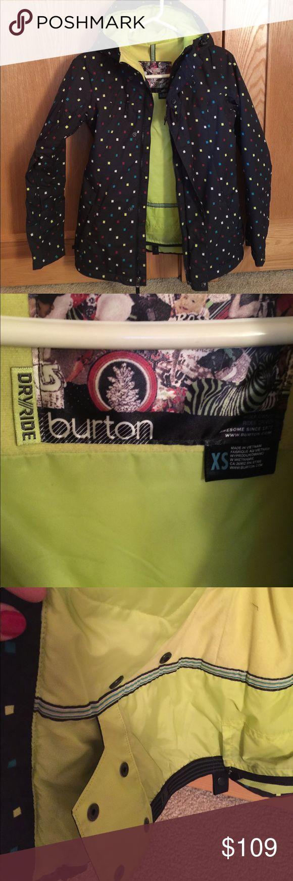 Burton ski or snowboard coat Burton ski or snowboard coat.  So many great features: zipper arm vents, waist powder guard, ski pass ticket clip in pocket, warm yet lets you breath. XS Burton Jackets & Coats