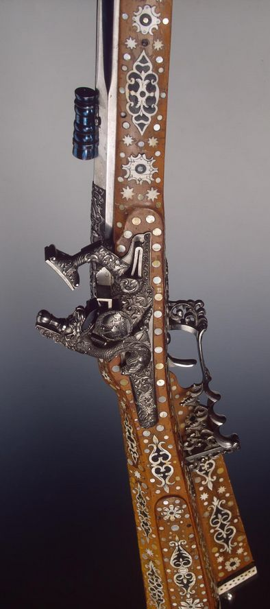 Hunting Gun, Place of creation: Russia  Date: 1866 School: Tula Material: steel, wood, bone, horn and mother-or-pearl Technique: forged, carved, chased, blued and decorated with inlay.