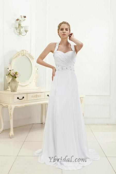 Gorgeous Sheath Halter Sweep Train Chiffon Wedding Dress WSC06501-TB - http://www.zbrands.com/Halter-High-Neck-Womens-Dresses-C54.aspx