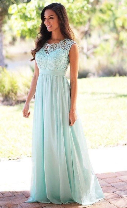 Elegant Mint Green Long Lace Chiffon Pleats Back Zipper Bridesmaid Dress - uniqistic.com/