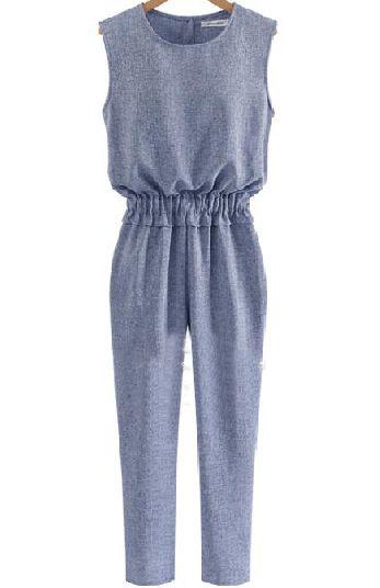 Blue Elastic Waist Jumpsuit//