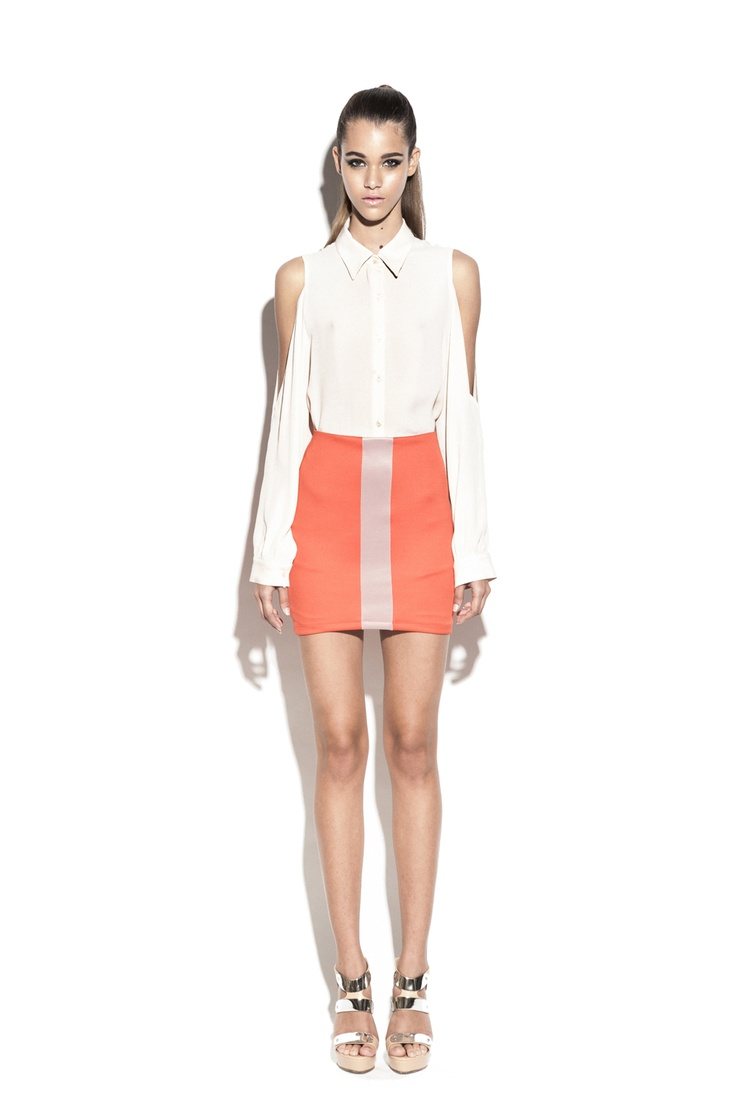 Nookie True Colours Shirt- Nude & Track Star Skirt- Blood Orange