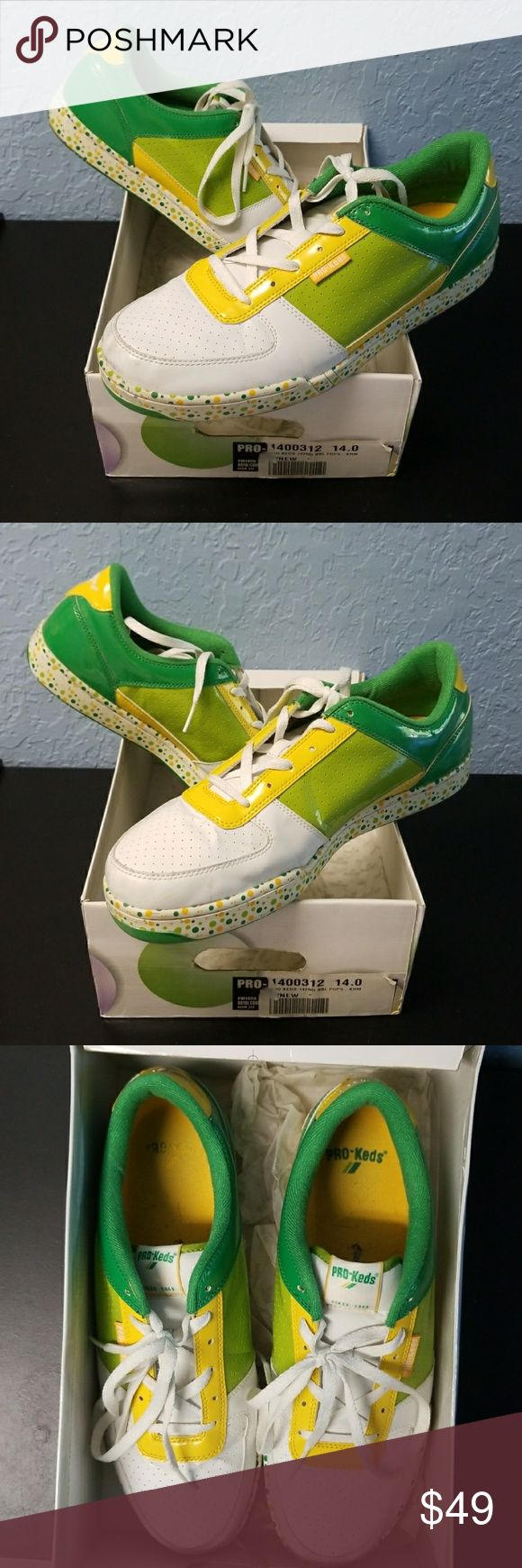 Pro-Keds Sneakers Green, yellow and white Pro-life, size 14, lightly worn in box Pro-Keds Shoes Sneakers