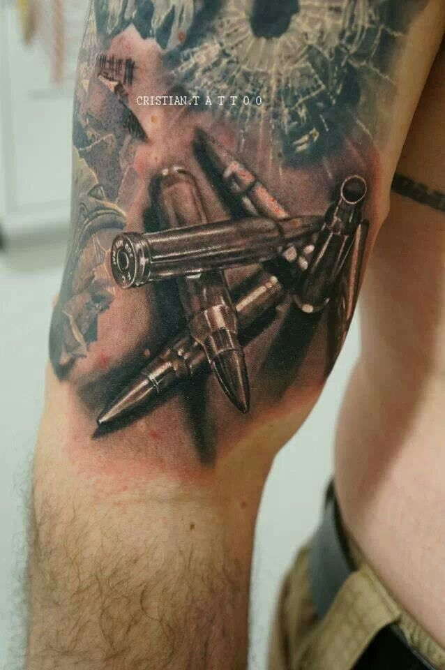 Amazing 3D Bullets Tattoo Design By Cristian