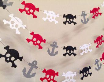 Decoraciones fiestas del pirata / 10 ft pirata Garland Vestido de calaveras y anclas Garland decoraciones de cumpleaños del pirata / partido del pirata