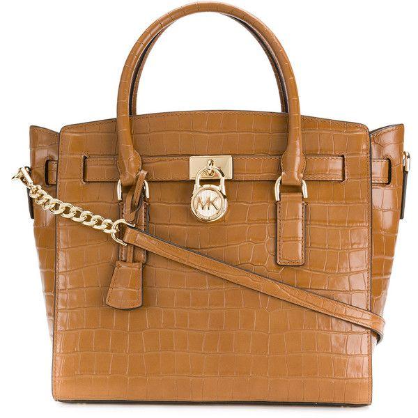 Michael Michael Kors croc Hamilton tote bag ($405) ❤ liked on Polyvore featuring bags, handbags, tote bags, brown, leather tote bag, brown leather tote, leather totes, leather handbags and leather tote purse