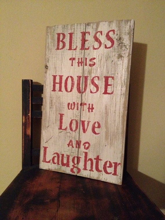 Pallet wall art love and laughter : Bless this house with love and laughter pallet sign barn