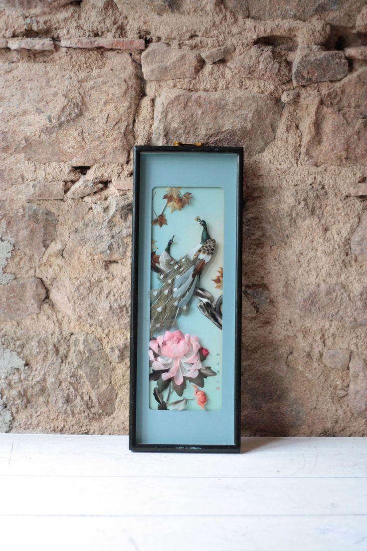 Vintage Asian Framed & Signed Feather Picture of Peacocks, Diorama by FarmGateVintage on Etsy