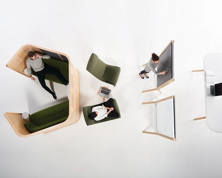 the assortment of products allow users to create collaborative settings that may be lounge or table focused, ready for sitting and standing, and can be supported by digital or analogue tools.
