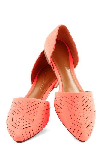 Grounded in Glam Flat in Coral. After slipping into a lace dress and adding a gold statement necklace, you step into these genuine-leather flats. #coral #modcloth