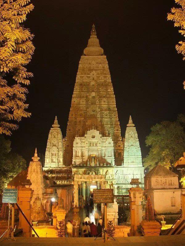 Old budha temple at night