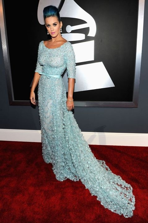 Katy Perry @ Grammys: 2012 Grams, Elie Saab, Gowns, Red Carpets, Katy Perry, Blue Hair, Grams Awards, The Dresses, Photo