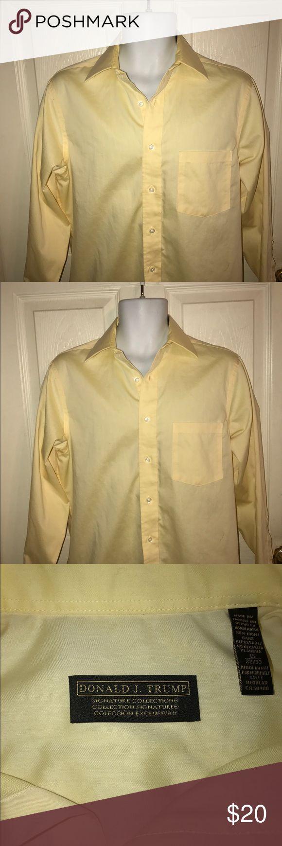 Donald J Trump Yellow Dress Shirt Collective Yellow Dress Shirt Collective. 32 inches length, 21 inches chest, 32/33 sleeve Donald J Trump Collective Shirts Dress Shirts