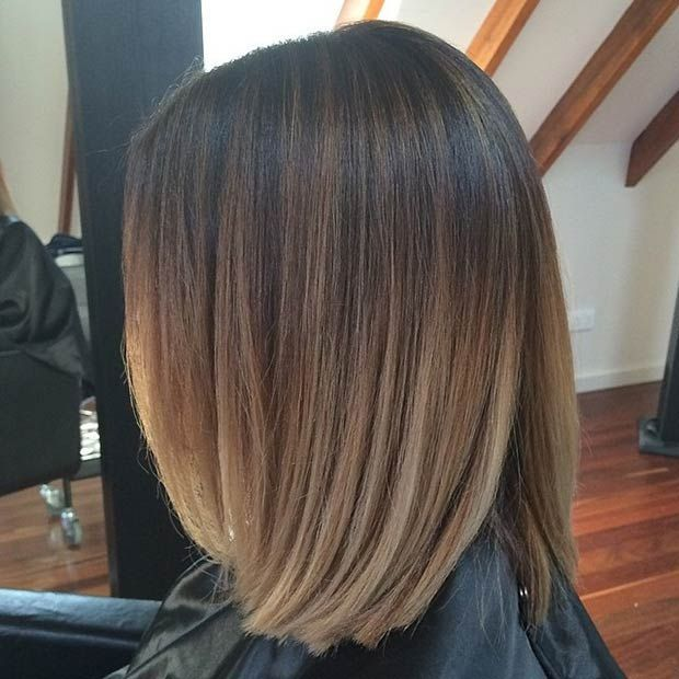 Bob, lob...whatever you call it- they always look smart and sheik! Blunt Lob Haircut + Blended Balayage with Subtle Highlights