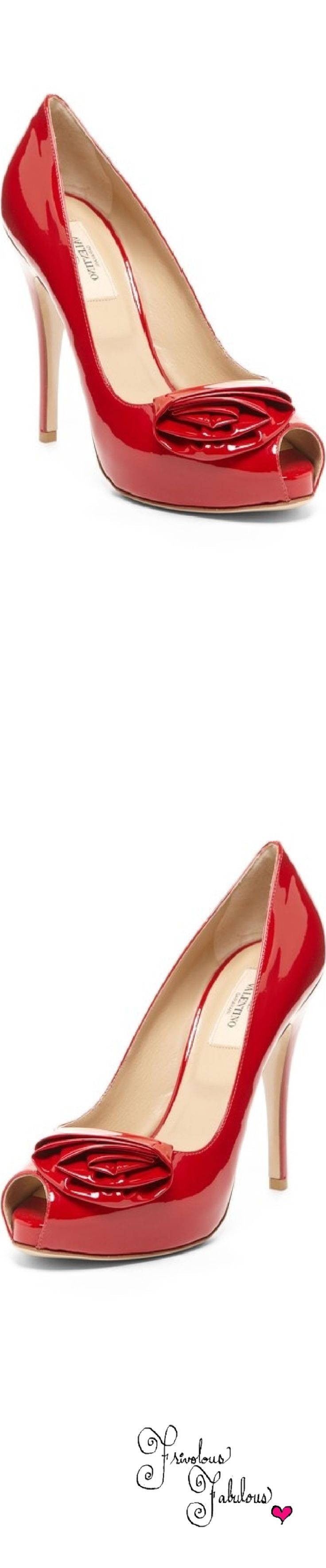 Valentino Red Patent Leather Peep Toe Pumps   House of Beccaria~