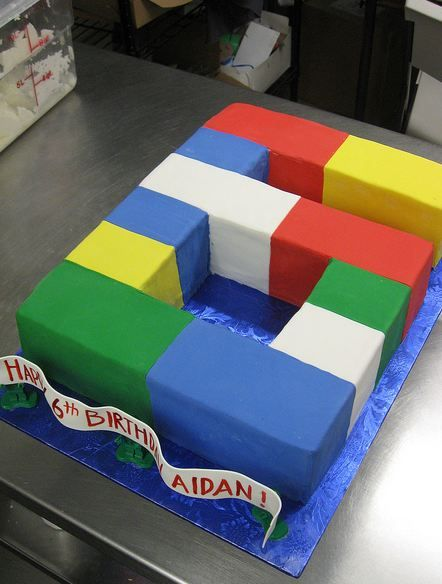 Lego theme sixth birthday cake in the shape of the number 6