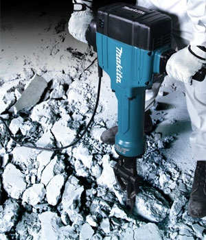 An electric jack hammer delivers 1,100 blows per minute and can be used to demolish concrete floors or sidewalks. Check your local Tool Rental Center for availability and rental cost.