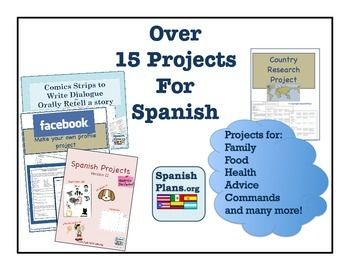20 of our Best Spanish projects which can be used for Spanish levels 1 and 2. Make for great assessments and great for students to work on as a sub plan. Includes our popular Spanish Facebook Project, and projects for Family Unit, Body Parts, Health, Food, House, Superheroes, Vocabulary Practice, and 5 exclusive projects not sold individually.