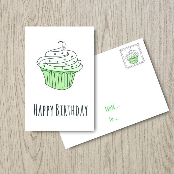 "Birthday Card: ""Happy Birthday Card"" Instant Download, Digital Card, Pastel Green & Grey, Printable, Diy"