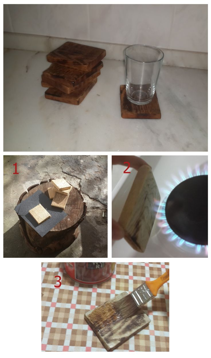 Bardak Altlığı 1- Tahtalar resimde görüldüğü gibi kesilip üzerindeki pürüzler gitmesi için zımpara yapılır.  2- Tahta ateşte yakılarak ağacın kendinden olan damarları, desenleri belirir. 3- Son olarak cilalama işleminden sonra bardak altıkları kullanıma hazır.