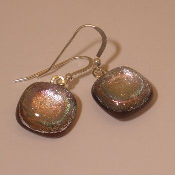 small dusky pink square fused dichroic glass earrings - Jola Glass [Chipping Campden]