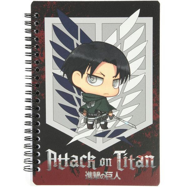 Attack On Titan Chibi Eren Spiral Notebook | Hot Topic ($15) ❤ liked on Polyvore featuring home, home decor, stationery, accessories, anime, books, drawings and merch