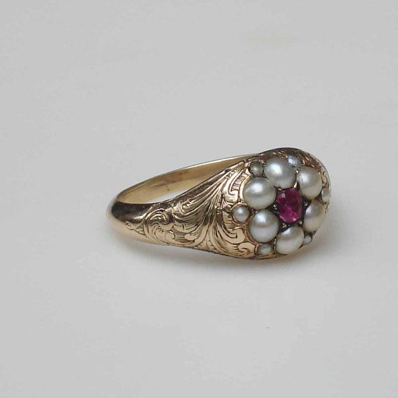 Victorian 14k Engraved Gold Ring with Ruby and by ColletteCollette, $850.00: Engraved Rings, Victorian Ring, Antique Rings, Jewel, Gold Rings, Victorian 14K