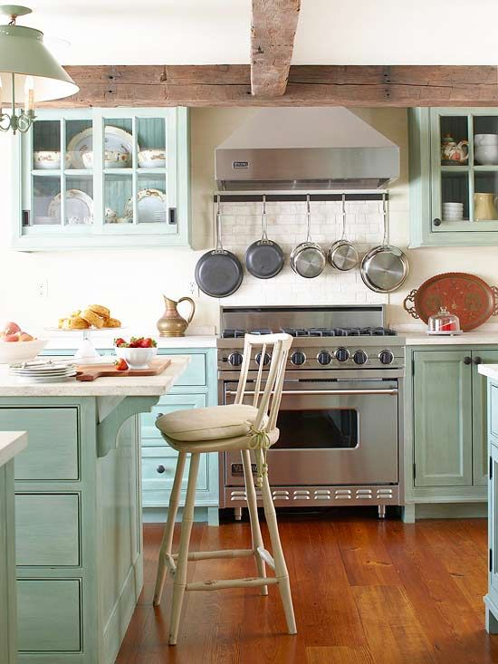 painted kitchen cabinets, beams, pot rack & xl rangePots Racks, Pot Racks, Kitchens Design, Cabinets Colors, Cabinet Colors, Rustic Kitchens, Design Kitchens, Wood Beams, Hanging Pots