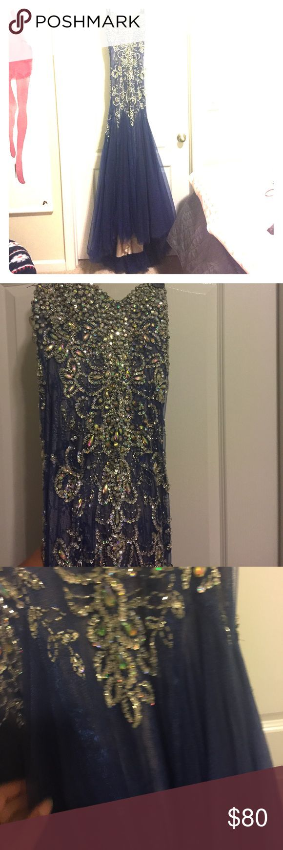 Mermaid Prom Dress w/ Beautiful Train! Long train in the back, nude slip beneath, lots of stretch for a gloved fit, minimal lost jewels on bodice but comes with extras in a bag. WILL ACCEPT OFFERS. macduggal Dresses Prom