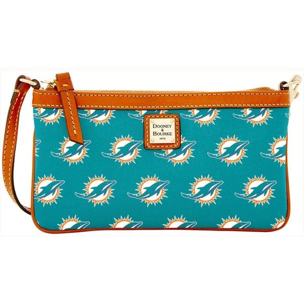 Dooney & Bourke Miami Dolphins Large Slim Wristlet ($88) ❤ liked on Polyvore featuring bags, handbags, clutches, turquoise, turquoise handbags, wristlet purse, turquoise purse, blue clutches and blue wristlet