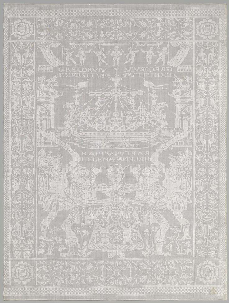 Anonymous | Servet met verwoesting van Troje, Anonymous, 1595 - 1625 | Wit linnen damasten servet met de verwoesting van Troje. Merk Kroon HW 23
