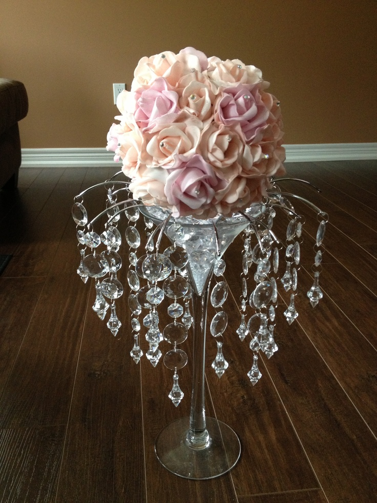 pale peach and pale pink martini glass centerpiece with On glass centerpieces for wedding tables