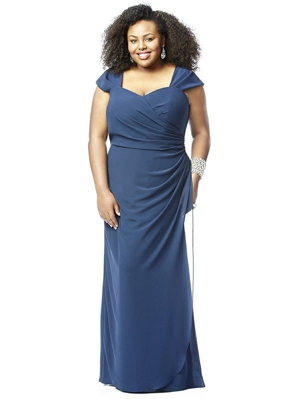 This beautiful, full-length, plus size Dessy Lovelie 9008 Bridesmaid Dress features a modest sweetheart neckline, cap sleeves and is draped to wrap at the waist.