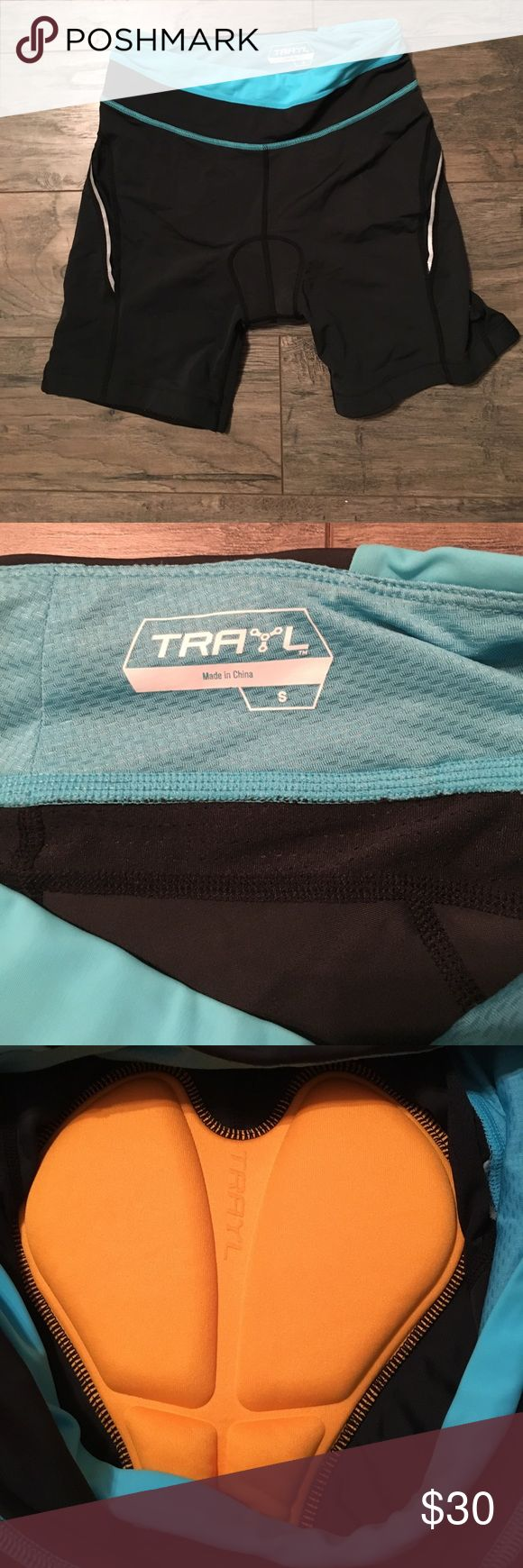 Trayl padded cycle shorts size small new w/o tags Trayl cycle shorts size small with comfort padding, non slip grip on thigh area, reflective stripes, and small zipper pocket in back. Never worn, new without tags! trayl Shorts
