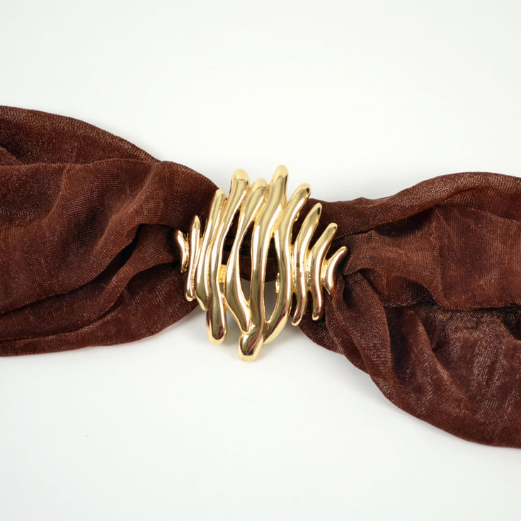 $10.90 for this wave slide scarf jewelry!  This open metalwork scarf jewelry slide adds a unique touch to your scarves. This piece has a polished gold tone finish and slides easily onto most scarves giving a simple stylish touch.
