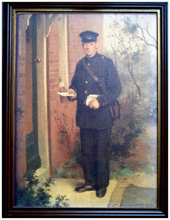 Postbode : Adrianus Geven ( * 08-05-1894 + 11-12-1967) de postbode bij voor het toenmalige huis van schilder Groenewegen, 1942