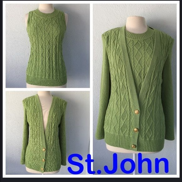 """St.John Knit Green Cami/Cardigan w/Gold Buttons St.John Green Cami Top and Green Cardigan Sweater can be worn together or separately. Cami is size M and Sweater is size L. Sweater has 3 gold buttons that have a star and the """"SJ"""" emblem in the middle. Sweater also has a gold bar on the back at the very top that says """"St.John"""" St. John Sweaters Cardigans"""