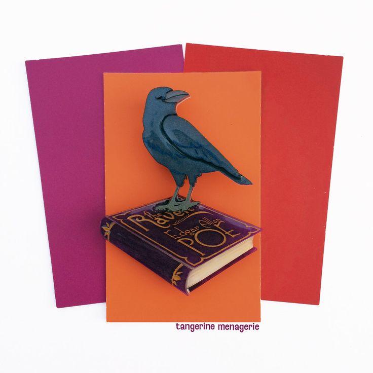 Edgar Allan Poe Raven Vintage Inspired Novelty Brooch by Tangerine Menagerie on Etsy https://www.etsy.com/listing/465695174/edgar-allan-poe-the-raven-book-brooch
