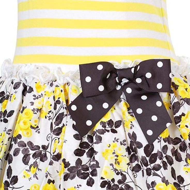 Bonnie Jean Little Girls' Yellow Mix Stripe Tier Dress (2T, Yellow)