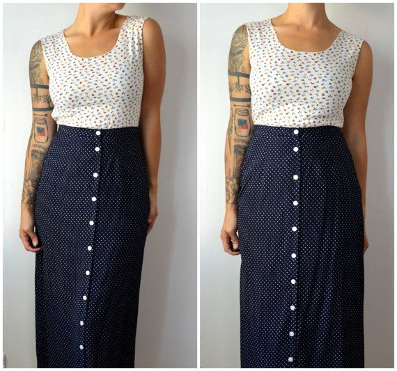 Blue Vintage Long Button Up Front White Polka Dot Hipster Skirt
