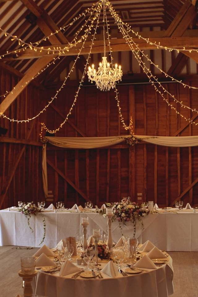 Chandelier and fairy light star at the