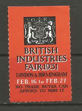 GB/UK  London & Birmingham 1931 British Industries Fair poster stamp/label