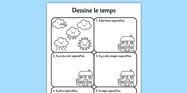 Draw the Weather Activity Sheet French