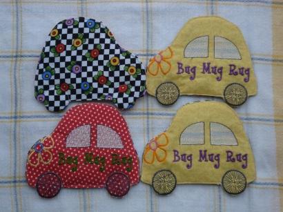 """Bug"" Mug Rugs I designed and machine embroidered. I thought the VW Beetle shape leant itself quite well to the mug rug shape."