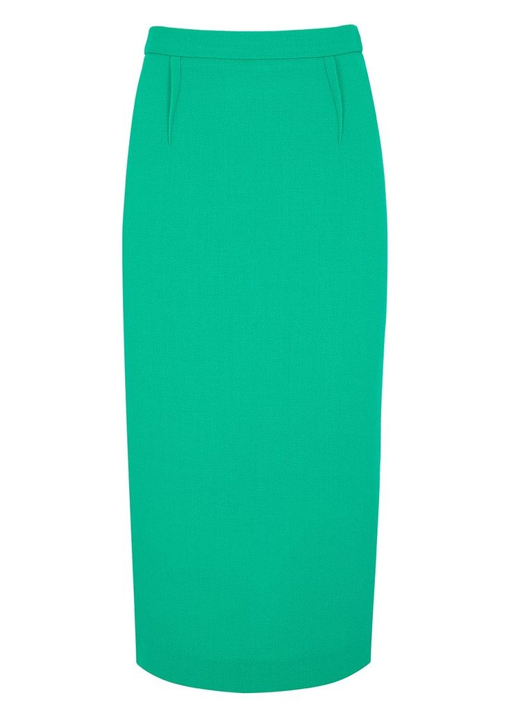 Limited edition exclusive colourway for Harvey Nichols Roland Mouret�sea green�wool crepe pencil skirt Darts at front and back, back vent Exposed zip fastening at back 100% wool