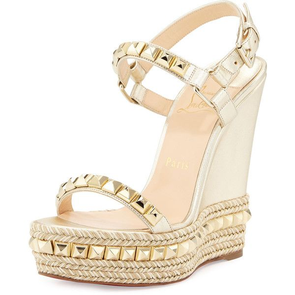 a6af0d1aca52 Christian Louboutin Cataclou Studded Leather Wedge Red Sole Sandal (€705) ❤  liked on Polyvore featuring shoes